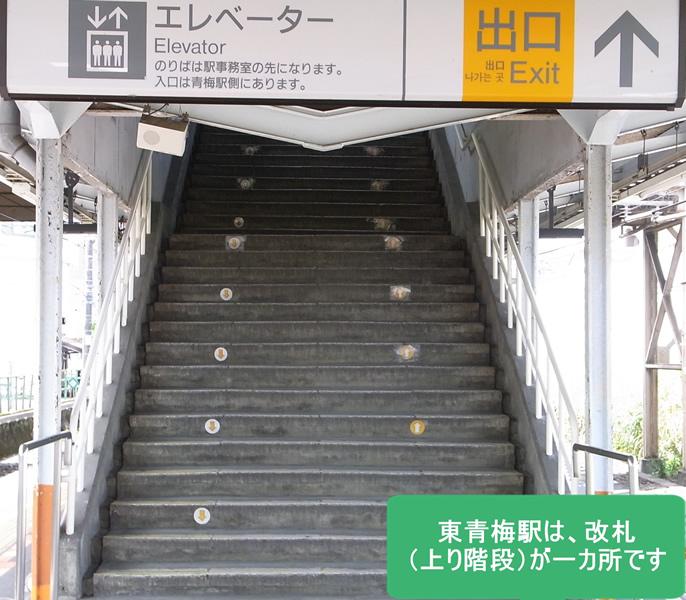 東青梅駅は改札(上り階段)が一カ所です。